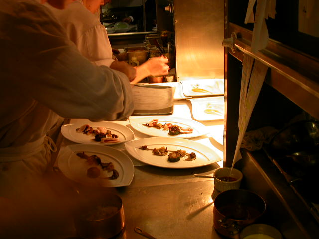 """Buttermilk Poached Poularde Breast with Salsify, Black Trumpet Mushrooms & Red Wine Essence"", Charlie Trotter's Restaurant, Chicago. Photo by Matt Hucke, July 2004."